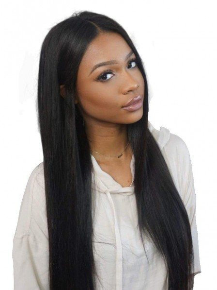 Women's super long silky straight 100% remy human hair wigs