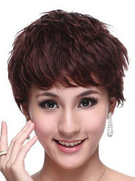 Human Hair Boycuts Short Wavy Capless Women Wig