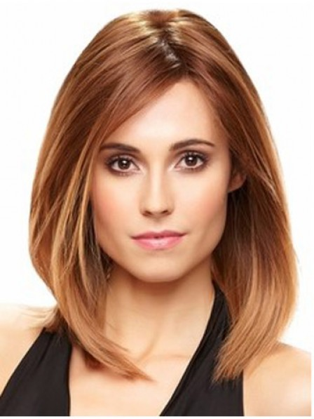 Shoulder Length Red Straight Lace Front Human Hair Monofilament Wig