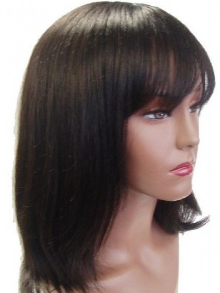 Human Hair Capless Straight With Full Bangs