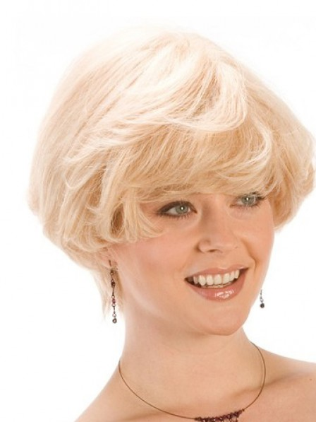 Lace Front Short Wavy Synthetic Wig With Bangs