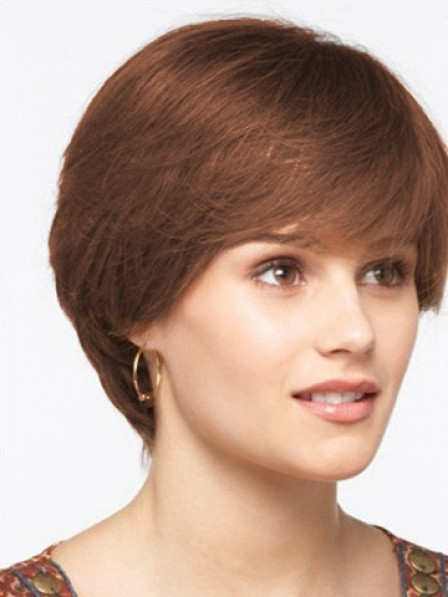 Short Straight Lace Front Human Hair Monofilament Wig With Bangs