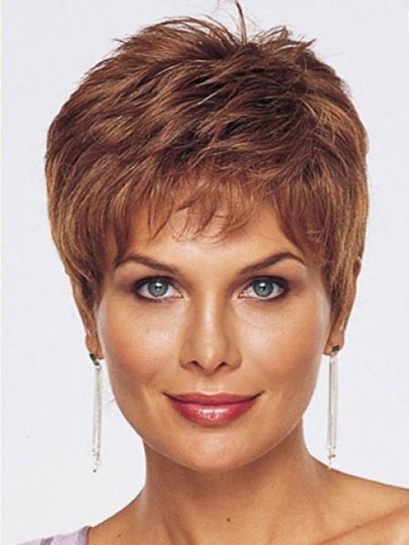 Boycuts Human Hair Auburn Lace Front Women Monofilament Wig