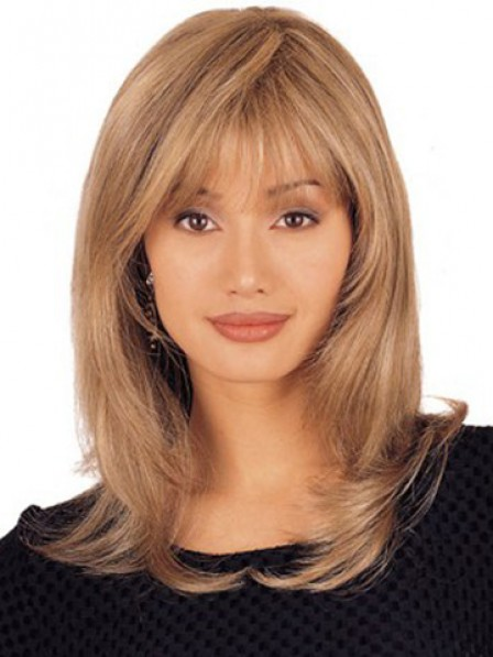 Wigs UK Lace Front Long Layered Straight Human Hair Wig With Bangs