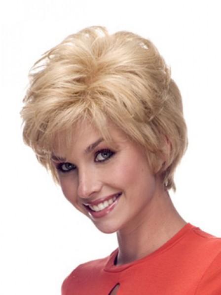 Short Straight Layered Human Hair Monofilament Wig With Bangs