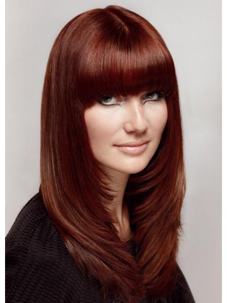 Long Layered Straight Human Hair Wig With Full Bangs