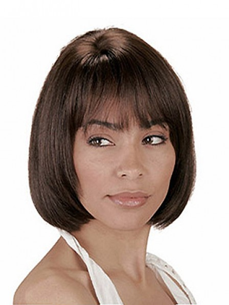 Short Straight Human Hair Women Lace Front Mono Top Wig With Bangs