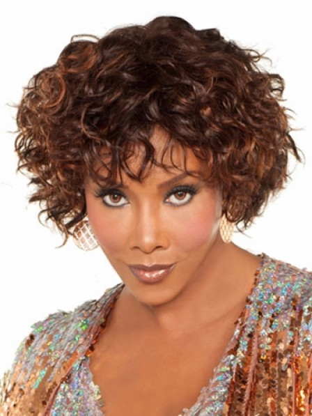 Curly Capless Synthetic Hair Wigs With Bangs