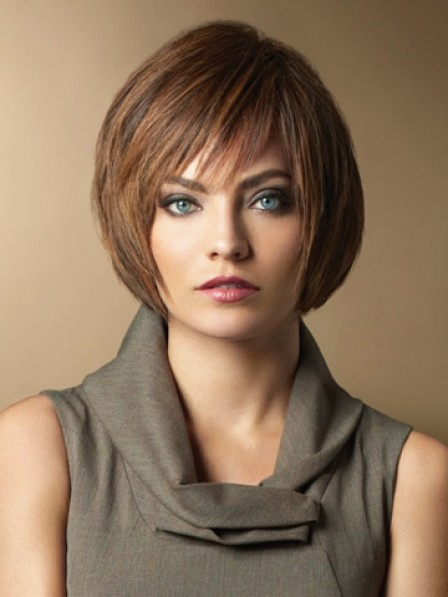 Lace Front Chin Length Straight Wigs With Bangs