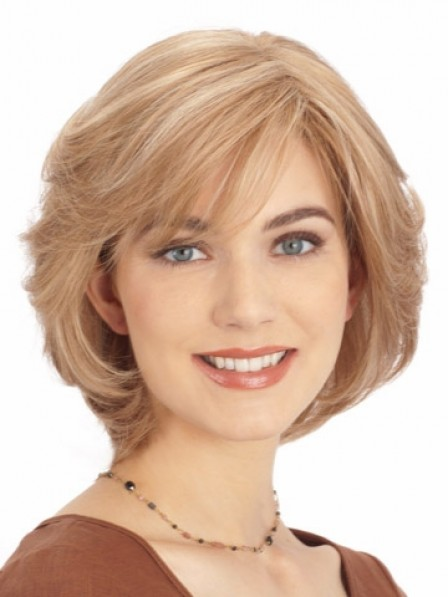 Women's Lace Front Chin Length Straight Wigs With Bangs