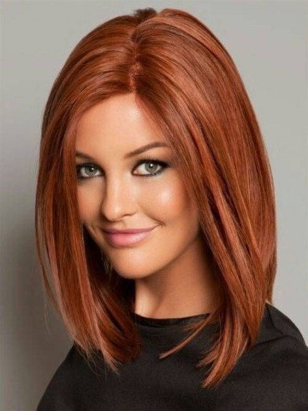 Lace Front Medium Striaght Human Hair Wig