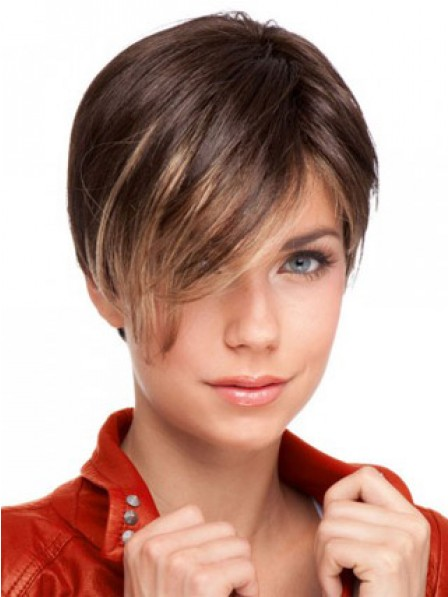 Lace Front Boycuts Straight Human Hair Monofilament Wig
