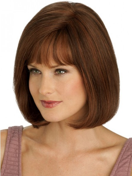 100% Hand-tied Full Lace Bob Straight Wig With Full Bangs