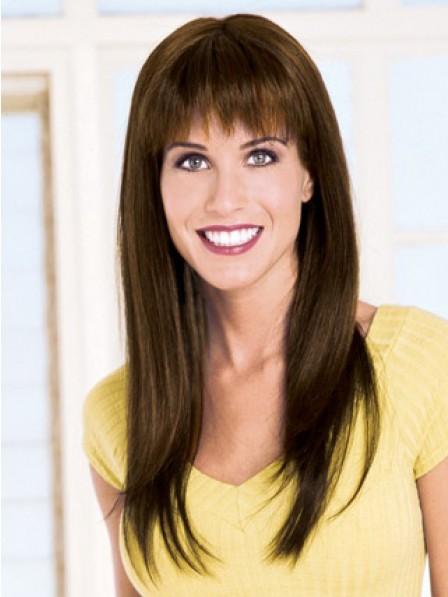 Long Straight Human Hair With Full Bangs