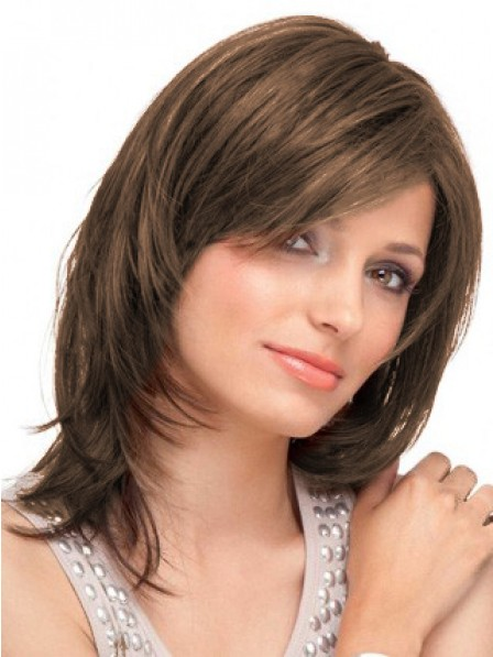 Lace Front Straight Human Hair Layered Wig With Side Bangs