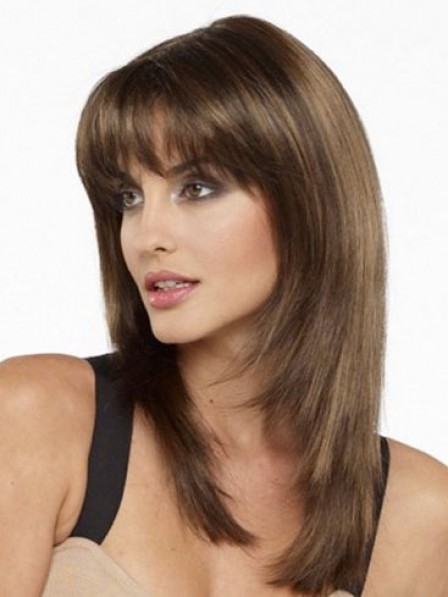 Shoulder Length Straight Human Hair Wig With Bangs
