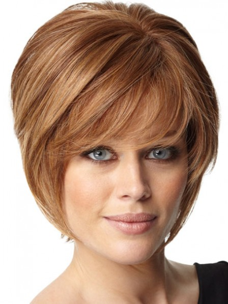 Lace Front Short Straight Human Hair Wig With Bangs