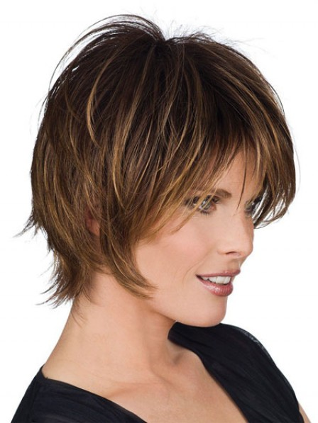 Synthetic Short Straight Capless Women Wig With Bangs