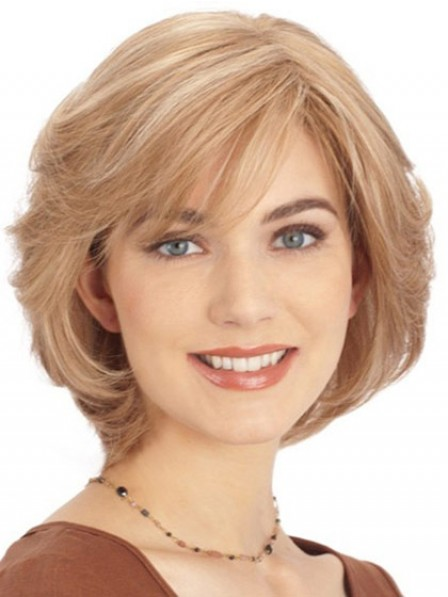 Short Straight Blonde Human Hair Lace Front Wig