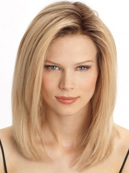 Human Hair Shoulder Length Straight Lace Front Wig