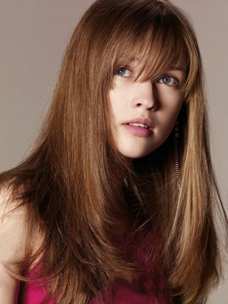 Long Straight Capless Human Hair Wig With Bangs