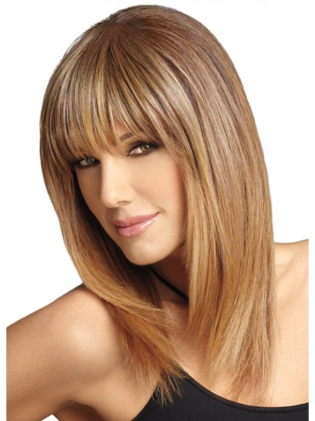 Capless Long Straight Human Hair Wig With Full Bangs