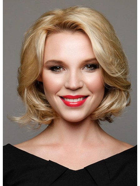 Chin Length Blonde Wavy Lace Front Human Hair Wig