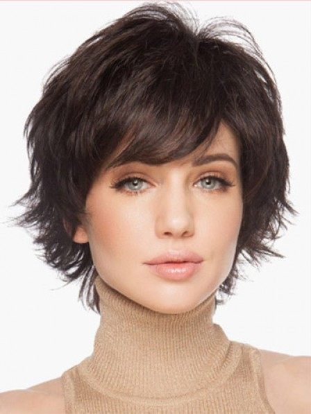 Layered Cut Side Bangs Women Short Straight Hair Wig