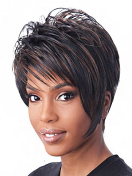 Synthetic Short Straight Wig With Side Bangs