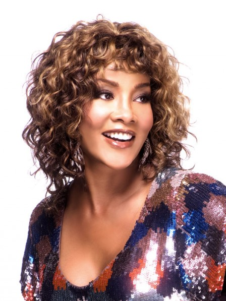 Curly Medium Length Synthetic Capless Wig