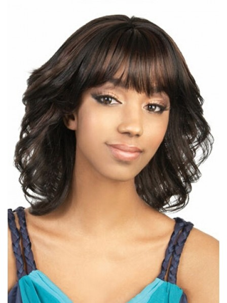Capless Mid-Length Wavy Synthetic Wig