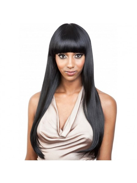Long Straight Capless Wig With Full Bangs