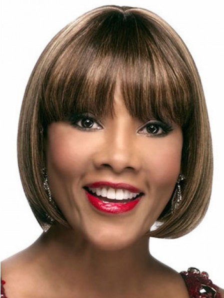 Chin Length Bob Straight Synthetic Wigs With Full Bangs