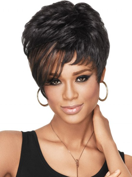 Short Straight Synthetic Wig With Side Bangs