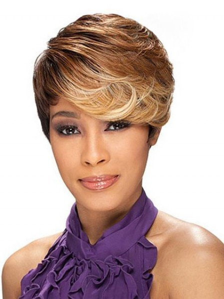 Lace Front Short Wavy Wig With Bangs