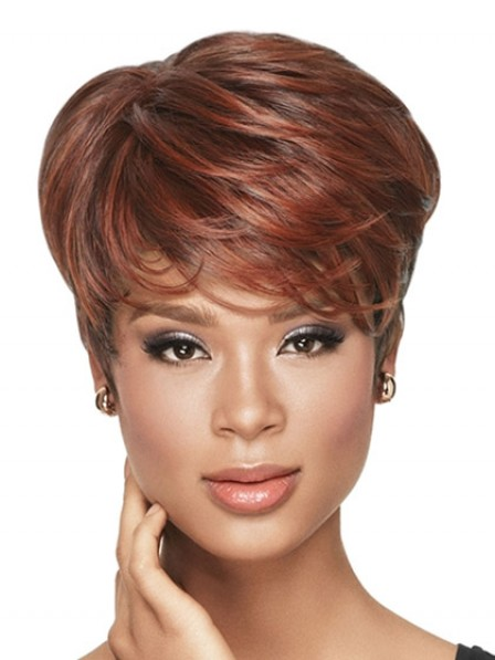 Short Boycuts Synthetic Wavy Wig With Bangs