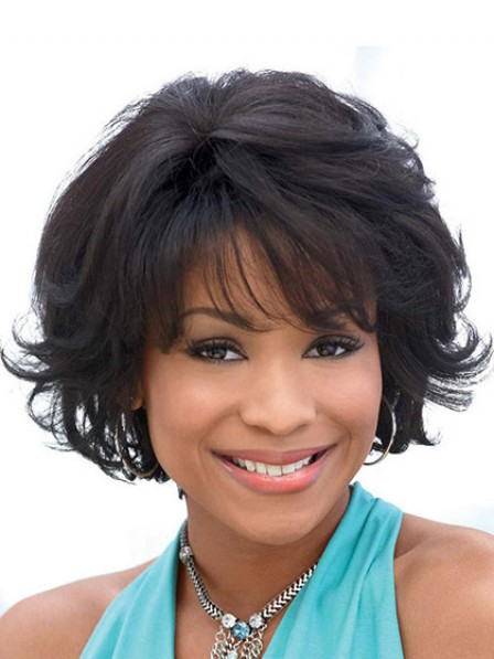Lace Front Short Wavy Hair Wig With Bangs