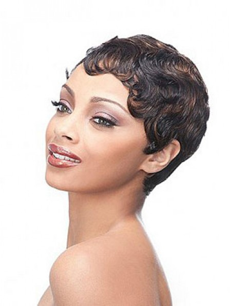 Short Pixie Cut Wavy Synthetic Women Hair