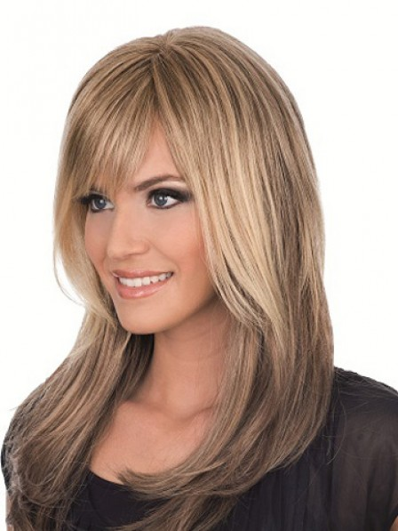 Lace Front Mono Top Long Straight Synthetic Hair Wig With Side Bangs For Women
