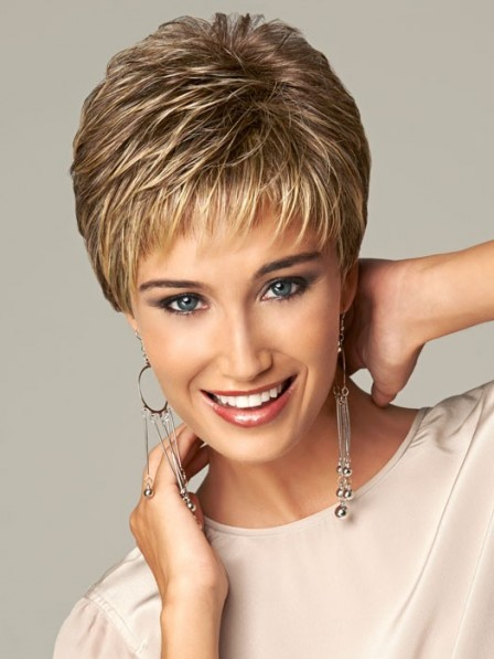 Synthetic Cropped Straight Pixie Cut Women Capless Hair Wig