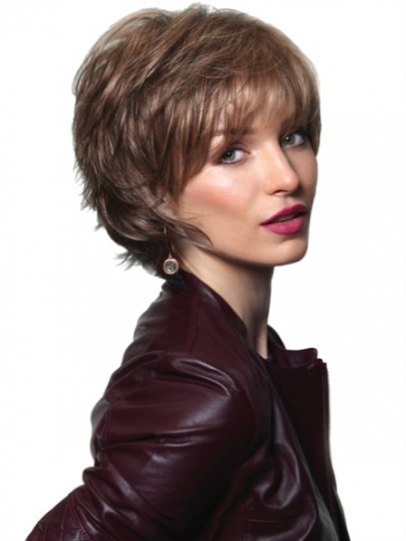 Natural Short Wavy Capless Synthetic Wigs
