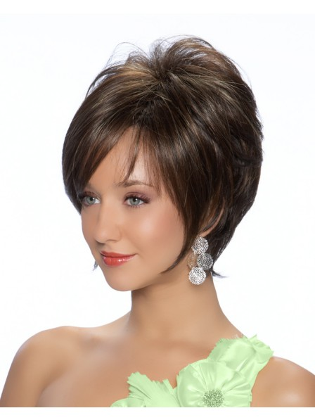 Straight Layered Style Human Hair Lace Front Mono Top Wig