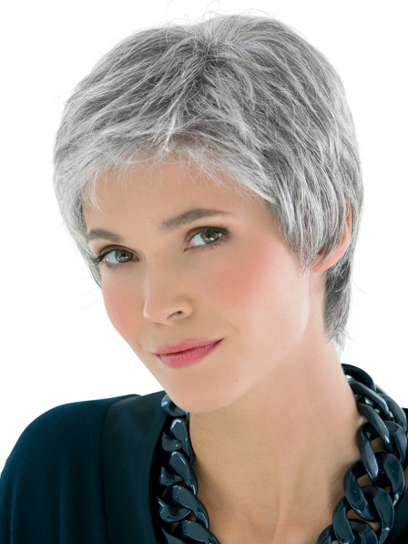 Synthetic Grey Cropped Pixie Cut Hair Wig