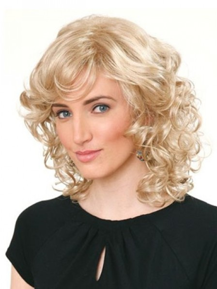 Synthetic Shoulder Length Blonde Curly Hair Wig For Women