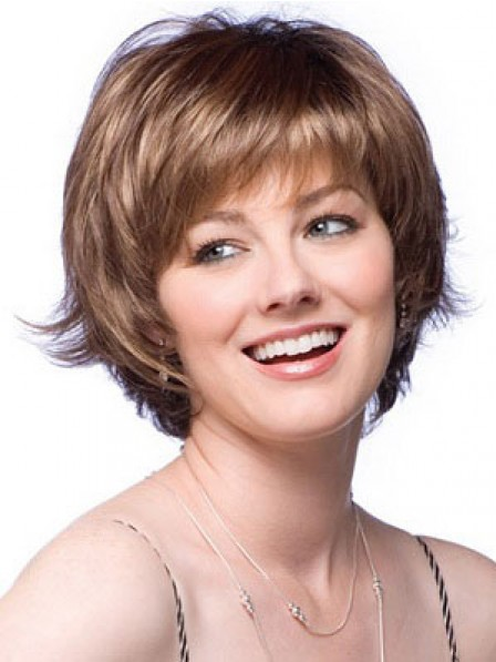 Full Wig Synthetic Short Straight Hair Wigs for Women With Bangs