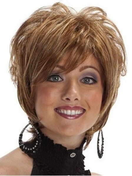 Short Heat Friendly Synthetic Hair Wavy Wig For Women With Bangs