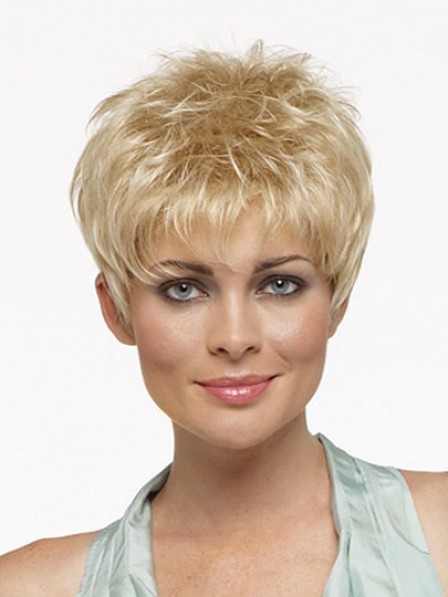 Short Straight Pixie Cut Synthetic Capless Wig