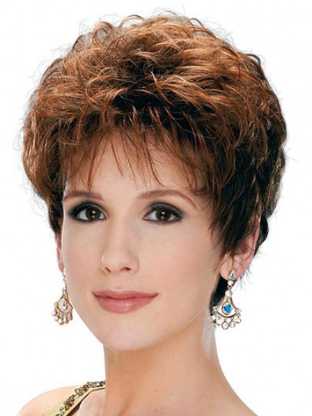 Cropped Synthetic Wavy Boycuts Hair Wig With Bangs