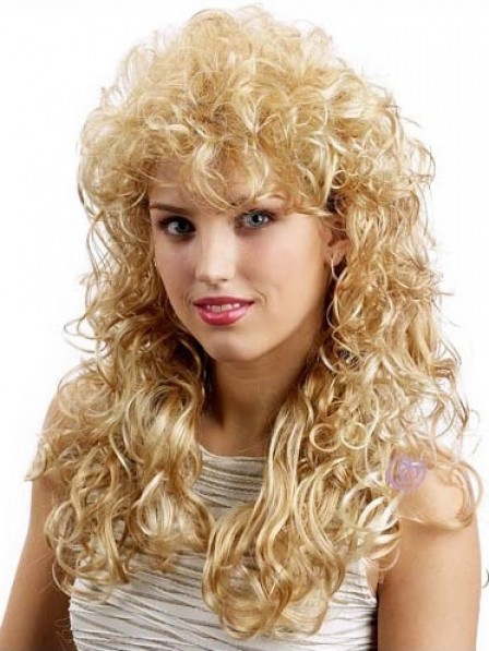 Heat Friendly Synthetic Hair Long Curly Capless Wig For Women With Bangs