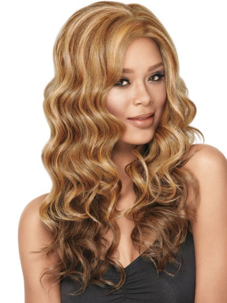 Women's Long Blonde Wavy Lace Front Synthetic Hair Wig
